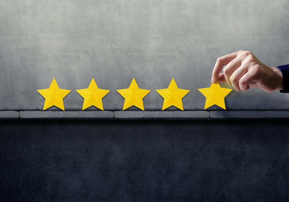 Customer Experience Concept. Best Excellent Services for Satisfaction present by Hand of Happy Client giving Five Star Rating